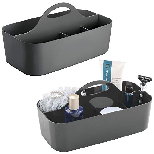 (mDesign Plastic Portable Storage Organizer Caddy Tote - Divided Basket Bin with Handle for Bathroom, Dorm Room - Holds Hand Soap, Body Wash, Shampoo, Conditioner, Lotion - Large, 2 Pack, Charcoal Gray)