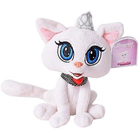 minino Tigre Animal de peluche decoración gatos cat colgante Sentado Con Collar Lazo aprox. 20cm blanco: Amazon.es: Juguetes y juegos