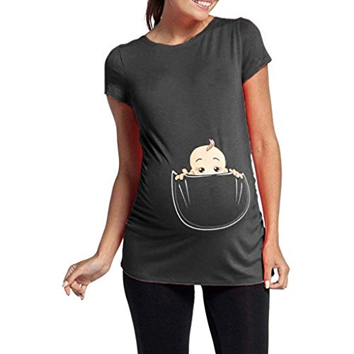 Women's Maternity T Shirt Cute Funny Baby Peeking Print Tee Ruched Side Pregnancy Tops (Gray, 2XL)