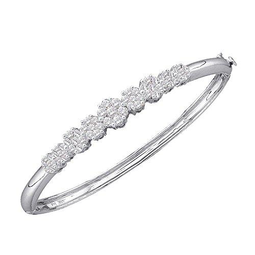 Roy Rose Jewelry 14K White Gold Ladies Diamond Bangle Bracelet 2 Carat tw 2ct Tw Diamond Setting