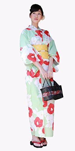 第三鳴らす川高級綿浴衣3点セット 「薄黄緑地に椿と花」 浴衣 セット レディース