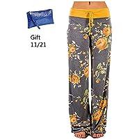 GoodLock Womens Wide Leg Lounge Pants Comfy Stretch Floral Print Drawstring Palazzo Pants