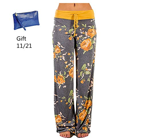 GoodLock Clearance! Womens Wide Leg Lounge Pants Comfy Stretch Floral Print Drawstring Palazzo Pants (Yellow, -