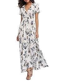 1stvital - Vestido para mujer, diseño floral, manga corta, con botones hacia arriba, bohemio, verano, playa