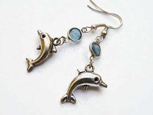 - Dolphin Birthstone Earrings, Personalized Nautical Earrings, Tiny Porpoise Earrings, Beach Earrings, Ocean Earrings