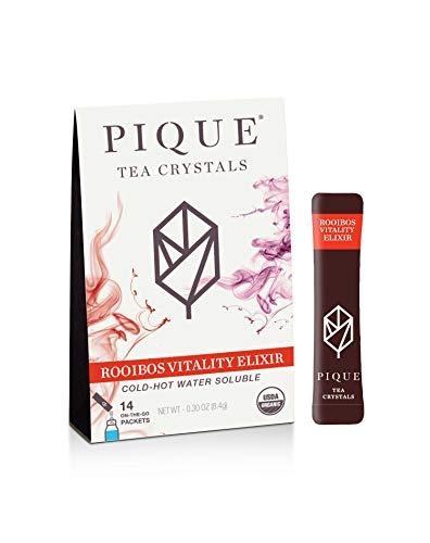 Pique Tea Organic Rooibos Vitality Elixir - Gut Health, Fasting, Calm - 1 Pack (14 Sticks)