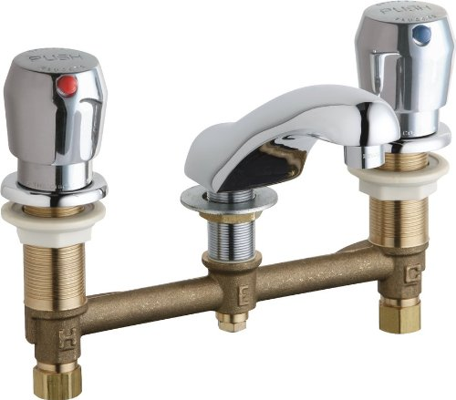 Chicago Faucets 404-V665ABCP Concealed Hot and Cold Water Metering Sink Faucet Lead Free ()