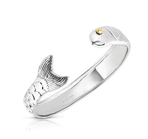 Unique Royal Jewelry. Solid 925 Sterling Silver And 14k Gold Plated Cod Fish Cuff Bracelet