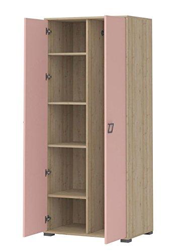 Kinderzimmer - Drehtürenschrank / Kleiderschrank Benjamin 12, Farbe: Buche / Rosa - 198 x 84 x 56 cm (H x B x T)