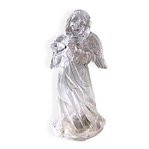 BANBERRY DESIGNS LED Lighted Angel Figurine - Clear Acrylic Color Changing Angel Holding a Heart Statue Decoration - 7 Inch