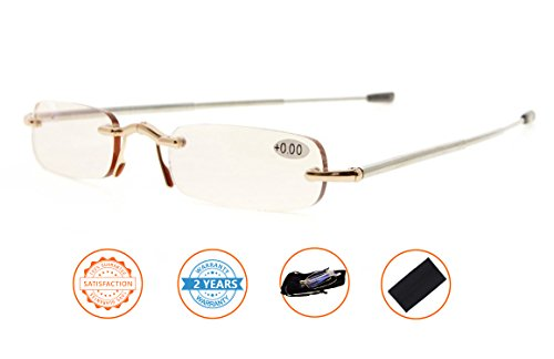 Anti Blue Rays,Reduce Eyestrain,Folding Rimless Computer Reading Glasses With Soft Pouch(Gold,Amber Tinted Lenses) - Gold Rimless Eyeglasses
