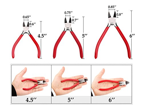 Whizzotech Wire Cutter Diagonal Cutting Pliers Micro Flush cut Side cutters, 4.5 Inch by Whizzotech (Image #1)