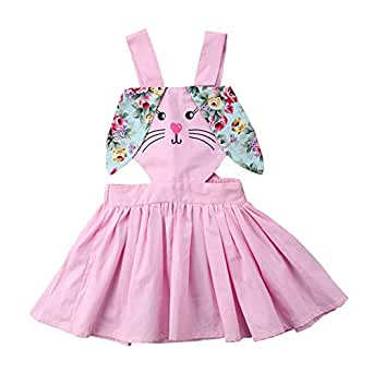 Fairy Baby Kid Girls Bunny Easter Outfit Halter Sleeveless Romper Backless Swing Tutu Dress Size 2T (Pink)