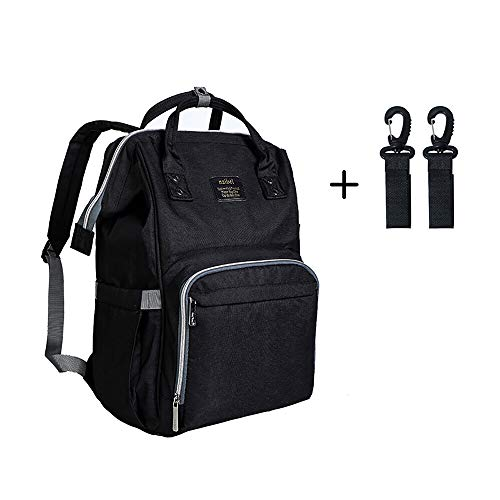 Diaper Bag Multi-Function Waterproof Travel Backpack Nappy Bags for Baby Care, Large Capacity, Stylish and Durable, black by WJASI (balck)