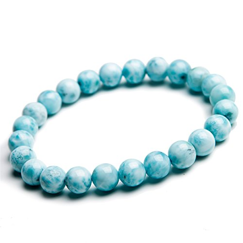LiZiFang 7mm Natural Blue Larimar Gemstone Crystal Round Bead Stretch Bracelet
