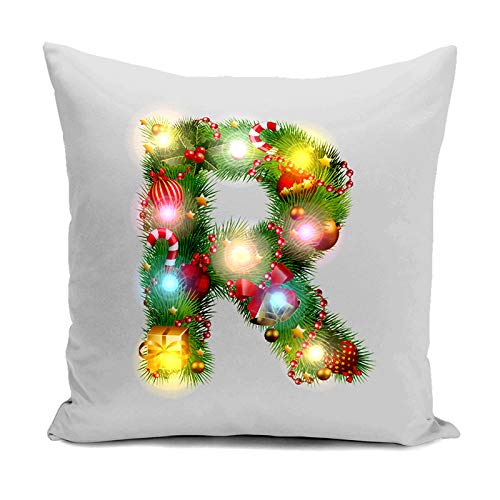 Cases with R Christmas Lights LED Decoration Home Alexsix Pillow Square Case Flax Pillow Alexis Pillowcase Santa Snowflake Pattern F5wRxxT6qt