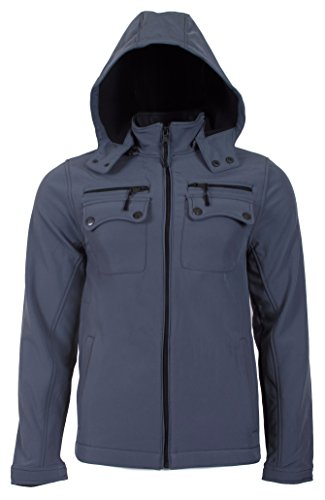 Urban Republic Mens Classic Zip Off Hood Microfleece Soft Shell Winter Jacket, X-Large, Grey