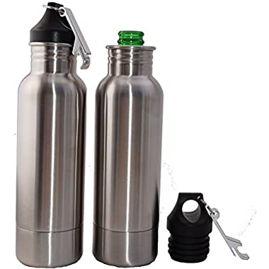 Craft Connections Stainless Steel Bottle Koozie Insulator with Opener – Pack of 2