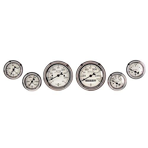 (Stewart Warner 82224 Wings Six White Gauge Set, Electric/Mechanical)