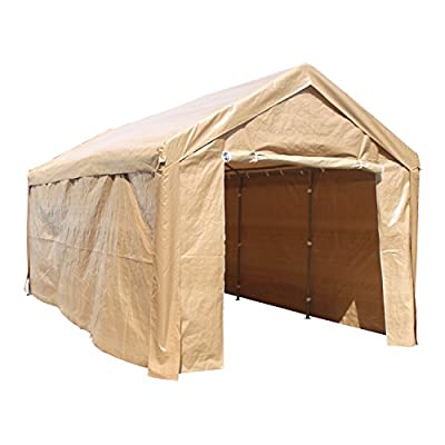 ALEKO CP1020BE Outdoor Event Carport Garage Canopy Tent Shelter Storage with Sidewalls 10 x 20 x 8.5 Feet Beige