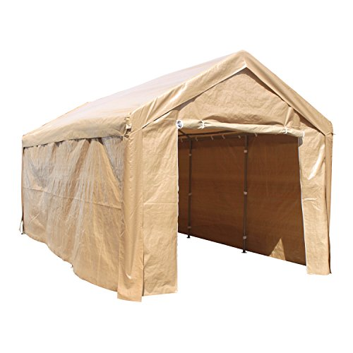 ALEKO CP1020BE Outdoor Event Carport Garage Canopy Tent Shelter Storage with Sidewalls 10 x 20 x 8.5 Feet - Shelter Boat Carport