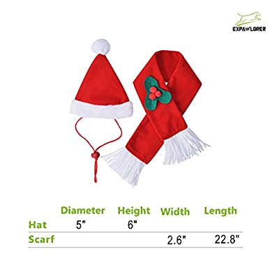 Christmas Cat Costume Santa Hats - Xmas Gift Hat with Scarf for Mini Dogs Puppy, Adorable and Warm