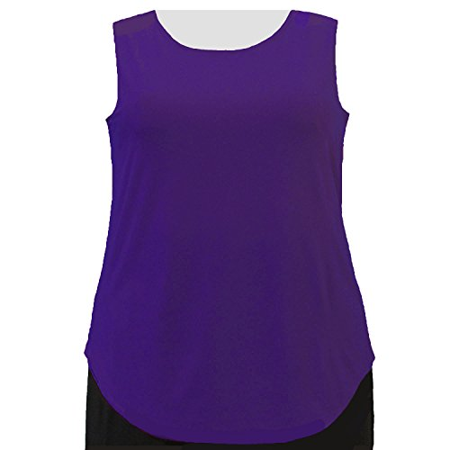 A Personal Touch Women's Plus Size Purple Round Scoop Neck Knit Tank Top - 6X