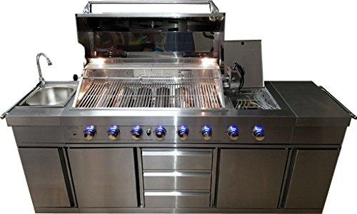 3 in 1 Stainless Steel Outdoor BBQ Kitchen Island Grill Propane LPG w/ SINK