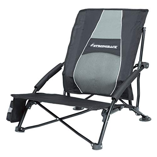 STRONGBACK Low Gravity Beach Chair Heavy Duty Portable Camping and Lounge Travel Outdoor Seat with Built-in Lumbar Support, Black, 2.0 (New for 2019)