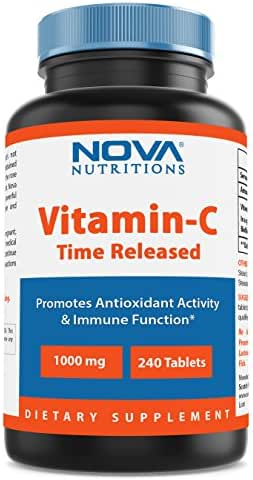 Nova Nutritions Vitamin C-1000 mg 240 Tablets (Time Released)