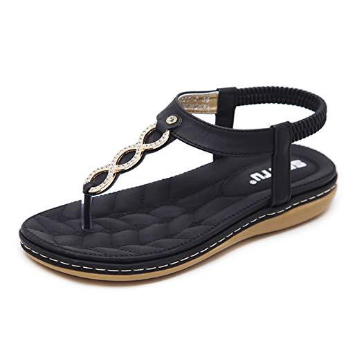 Peep Forma De Sandalias En con Correas Negro De Toe Verano Sandalias De Playa XwSO0ZHOx