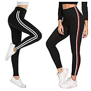 Fitg18® Gym wear Leggings Ankle Length Free Size Combo Workout Trousers | Stretchable Striped Jeggings | Yoga Track…