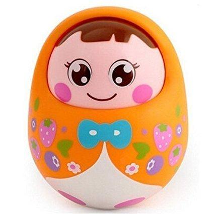 Aipa Nodded Tumbler Toys Educational Baby Nodding Doll with sound (Orange)