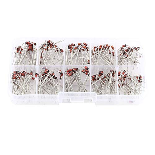 Akozon Diode 200pcs 10Values Zener Diode Assortment Electronic Kit 1N4728~1N4737 with Storage Box