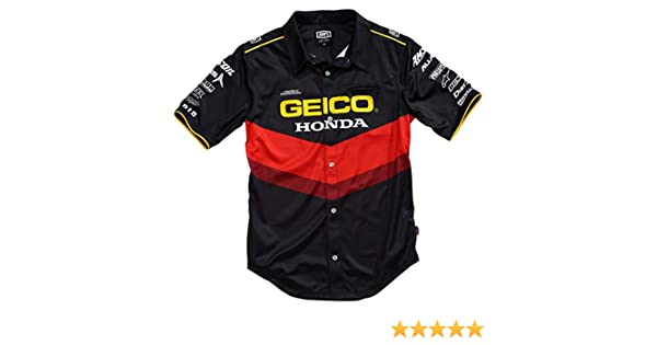 2b8efa5a9 Amazon.com: 100% Men's Geico Honda Pilot Pit Button Up Short-Sleeve Shirts:  Clothing
