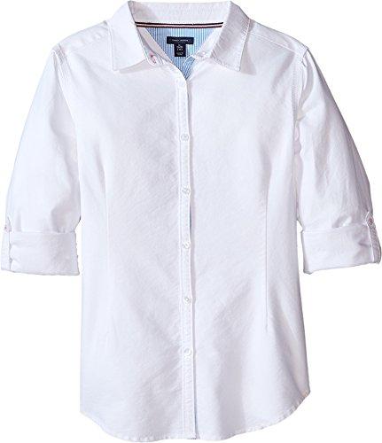Tommy Hilfiger Big Girls' Solid Oxford Shirt, White, - Oxford Shirt Tommy Hilfiger