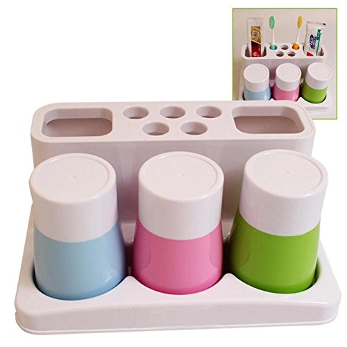 Kangkang@ Home Bathroom Gadgets Toothbrush Toothpaste Holder Cup Holder with Three Water Cup Shelf Backet Bathroom Accessory Set