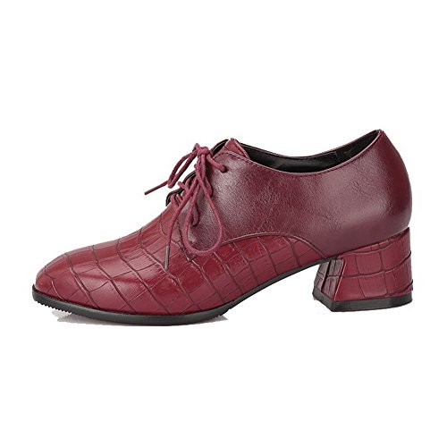 Toe Claret Lace Kitten Women's Square up Shoes Solid Pumps Heels WeenFashion EqgHq