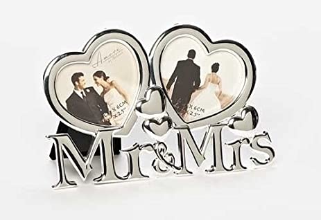 Amazon.com - Mr. & Mrs. Double Heart Frame (Holds two 3 x 2.5 photos) -