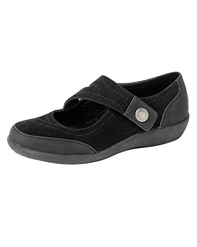 Cotton Traders Womens Ladies Lightweight Comfort Cross Over Strap Shoes E Fit Black XCzQ1