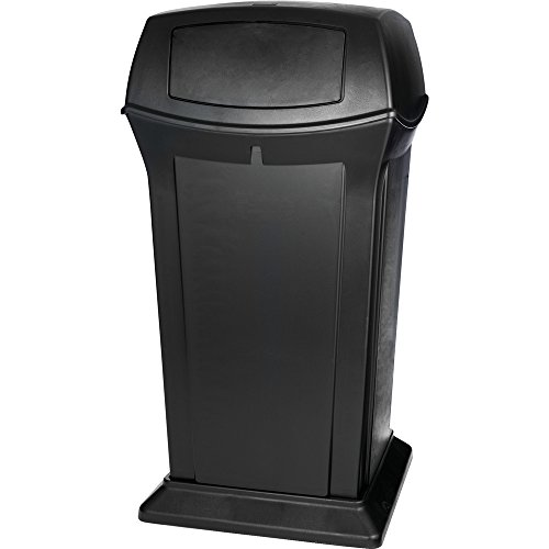 65 Gallon Ranger Container - Rubbermaid Commercial 65-Gallon Ranger Trash Can with 2 Doors, Square, 24-7/8-Inch Width x 24-7/8-Inch Depth x 49-1/4-Inch Height, Black (FG917500BLA)