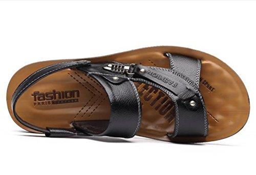 Pelle YCMDM c'è di nuovo estate fibbia in metallo Men Casual Shoes Pelle bovina sandali della spiaggia Pantofole , black , 39