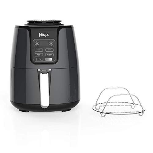 Ninja Air Fryer, 1550-Watt Programmable Base for Air Frying, Roasting, Reheating Dehydrating with 4-Quart Ceramic Coated Basket AF101 , Black Gray Renewed