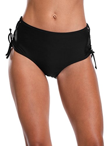 (ATTRACO Ladies Retro Swimsuit Brief Adjustable Bikini Swimming Bottom Black)