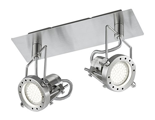 LED Deckenlampe Strahler ROBOT 2x3W warmweiss 3000k nickel matt 25,5cm Lampe 81122007
