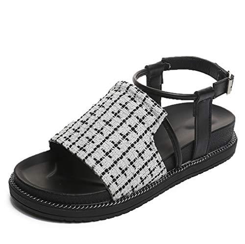 アンクルストラップ フラット チエック サンダル レディース サンダル 靴 シューズ アンクルストラップ ベルトサンダル チロリアン 布 ブラック ホワイト ぺたんこ ペタンコ 歩きやすい コンフォート 大きいサイズ