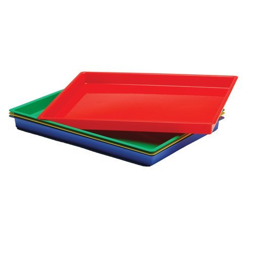 - Constructive Playthings Messy Trays, Set of 4 Hard Plastic Trays, Multi-Color
