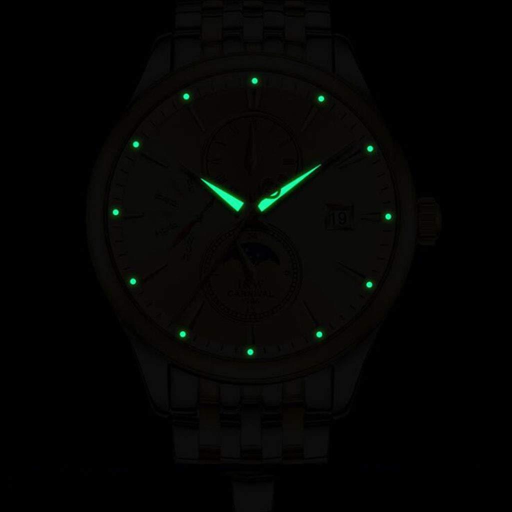 CARNIVAL herrklocka, affärsstil automatiska mekaniska klockor multifunktion armbandsur vattenmotstånd med kalender 8732G Guld blått