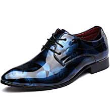 Senyee Men's Dress Shoes, Modern Classic Pointed-toe Patent Leather Floral Lace-up Business Casual Oxford
