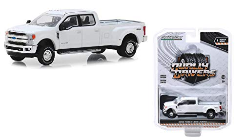 Greenlight 46010-C Dually Drivers Series 1-2018 Ford F-350 Lariat - Oxford White 1:64 Scale